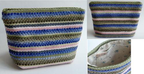 裂き布&糸の織り ファスナーポーチ