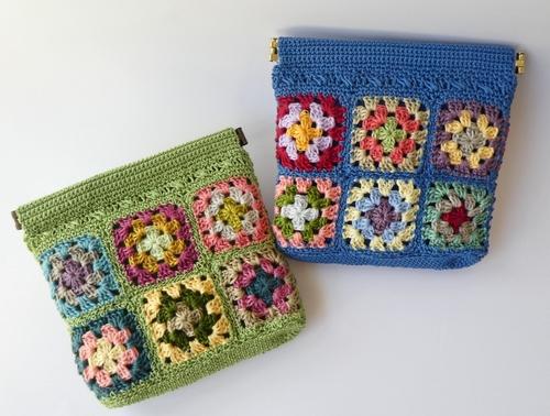 刺繍糸モチーフのバネ口金ポーチ