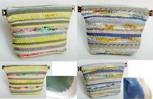 裂き布&糸の織り バネ口ポーチ