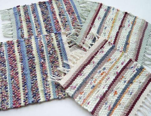 《裂き布&絲》織りコースター