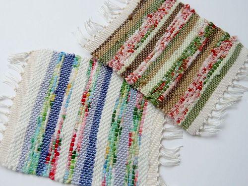 裂き布&糸の織り コースター